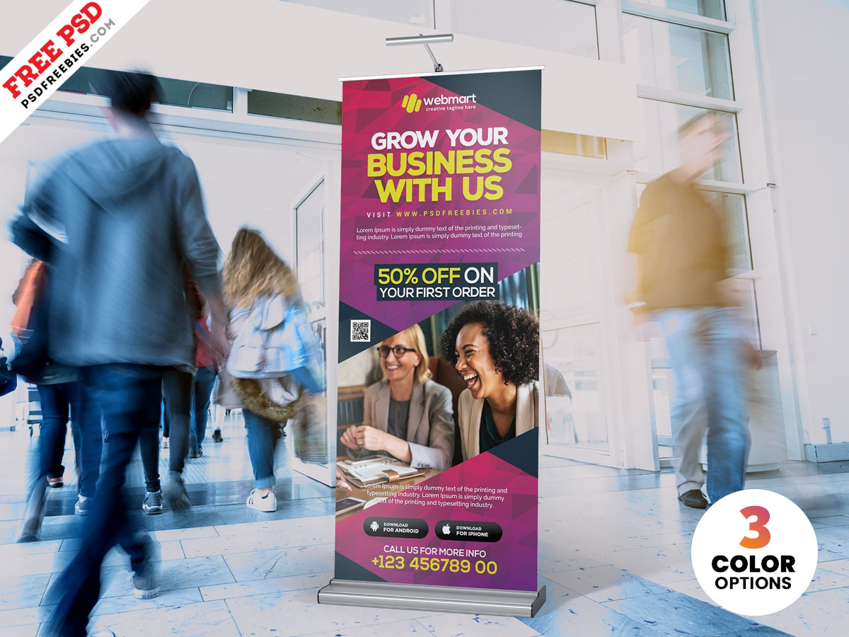 Business Promotion Roll Up Banner PSD roll-up design roll-up rollup banner rollup creative print template download photoshop design free template psd template free freebie psd free psd
