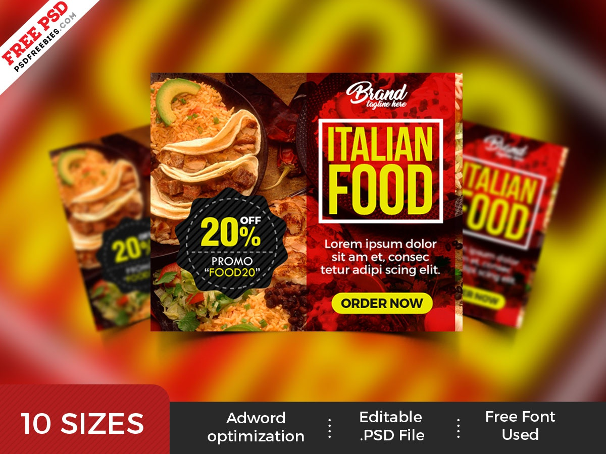 Restaurant Advertising Banners PSD Set by PSD Freebies on