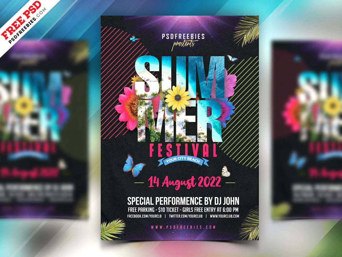 Summer Party Flyer Design PSD music party summer festival summer summer party flyer summer party psd flyer flyer print template download photoshop design free template psd template freebie psd free psd