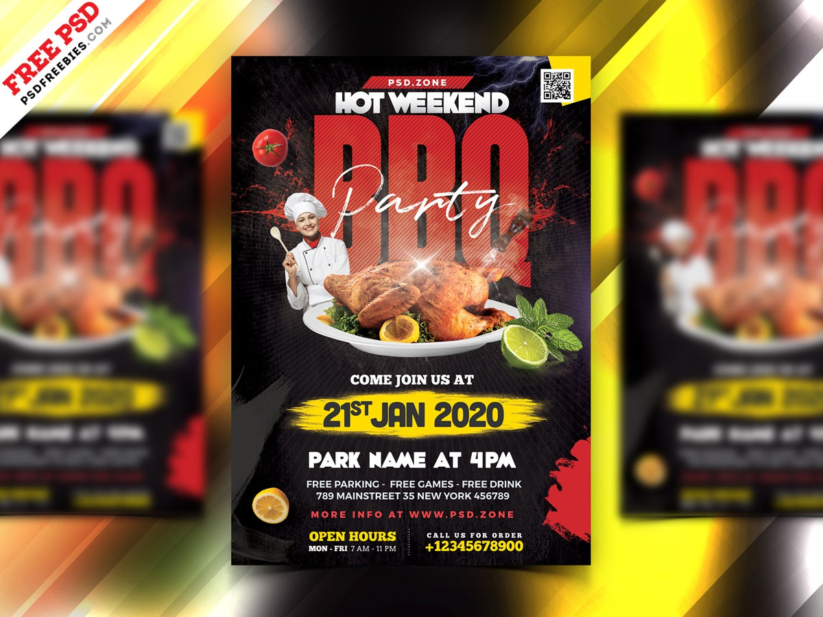 BBQ Party Flyer Design PSD party weekend party bbq bbq flyer party flyer psd flyer flyer print template download photoshop design free template psd template free freebie psd free psd