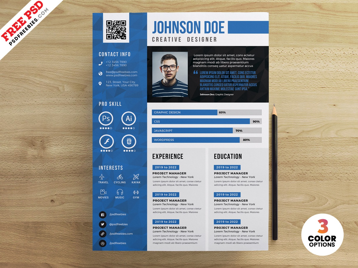 Resume Cv Design Free Psd Templates By Psd Freebies On Dribbble