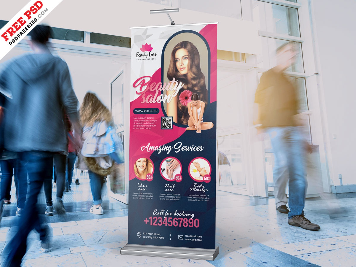 Beauty Salon Advertising Roll Up Banner Psd By Psd Freebies On Dribbble