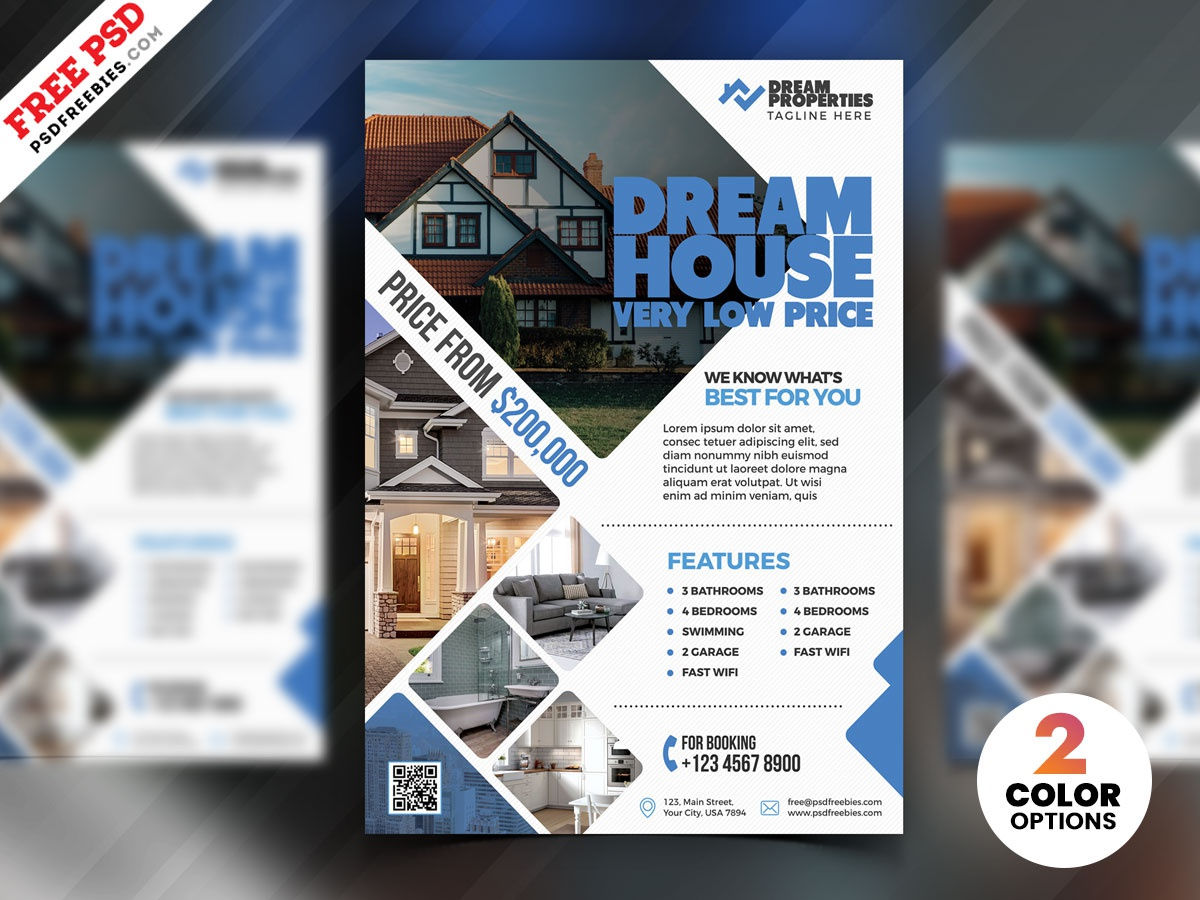 Real Estate Flyer Design PSD real estate branding real estate agency real estate psd flyer download design flyer print template photoshop free template psd template free psd free psd