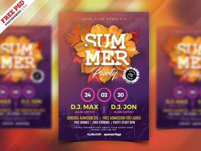 Summer Season Music Party Flyer PSD