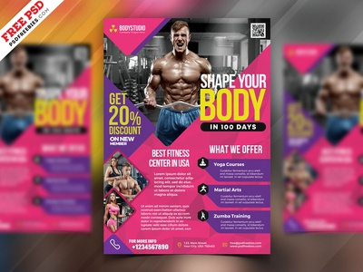Elegant Fitness and Gym Flyer Design PSD