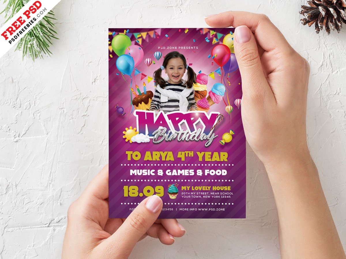 Birthday Party Invitation Card Design PSD By Freebies On Dribbble