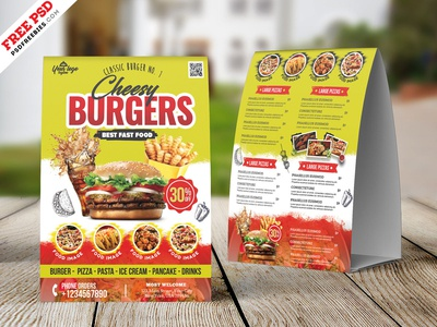 Food Menu Table Tent Card PSD