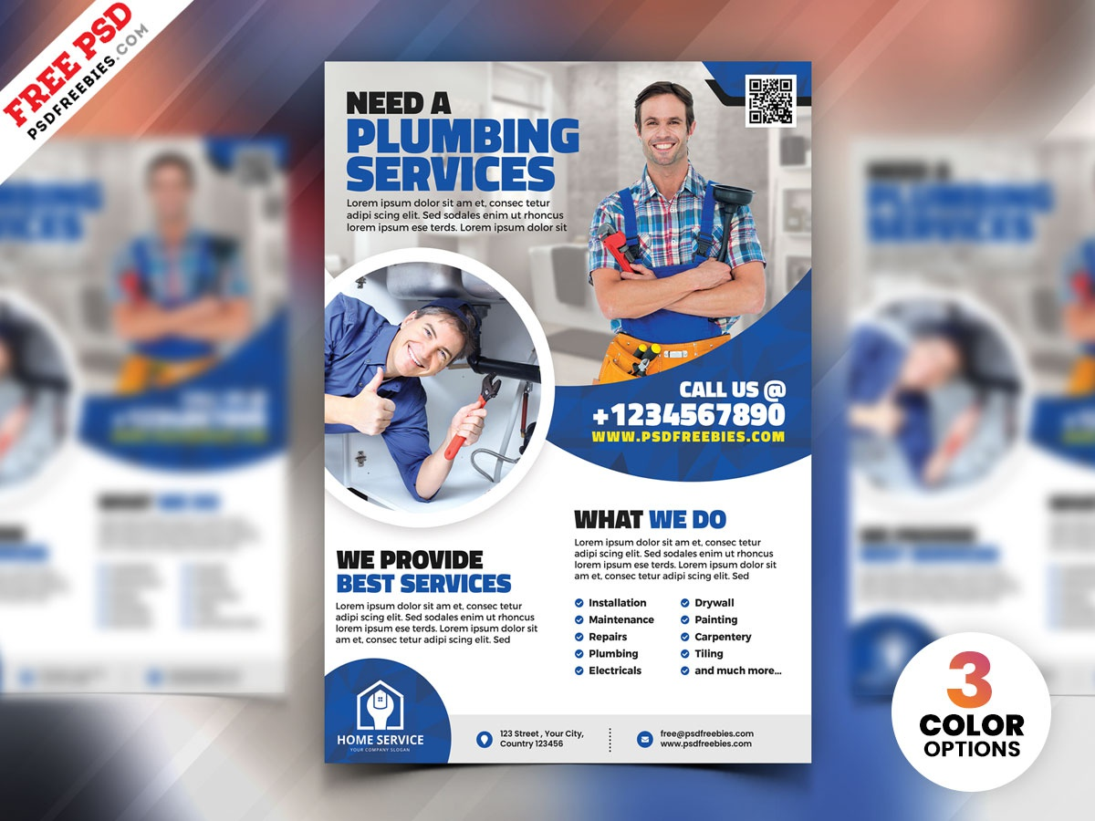 Plumbing Service Flyer Template PSD corporate template download photoshop design free template psd template free freebie psd flyer home services plumber psd free psd flyer free psd