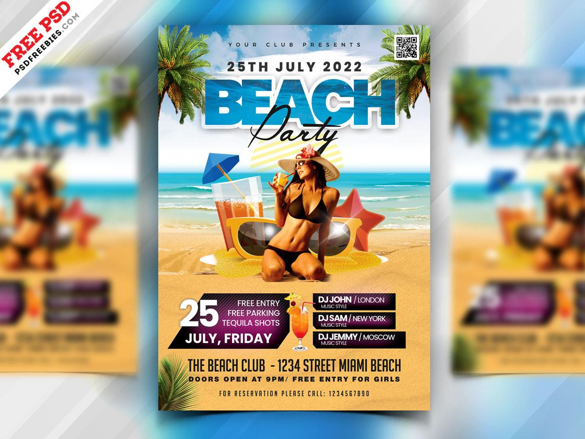 Summer Beach Party Flyer PSD summer beach party summer party party flyer psd flyer flyer print template download photoshop design free template psd template free freebie psd free psd