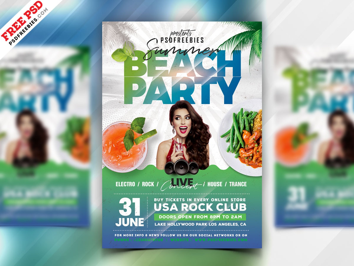 Summer Beach Party PSD Flyer summer party flyer summer party beach party party flyer psd flyer flyer print template download photoshop design free template psd template free freebie psd free psd