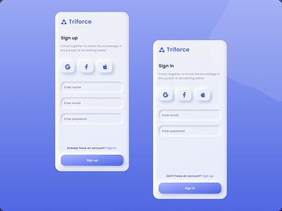 Triforce - Mobile App   Daily UI Challenge 001 (Sign up) dailyui app ux design neumorphism signin