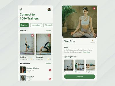 Daily UI #006/User profile newbie dribbblers design yoga trainer yoga design inspiration app design challenge dailyui