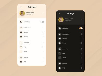 Daily UI #007 | Setting ui design setting page dark mode light mode design design inspiration app design challenge dailyui
