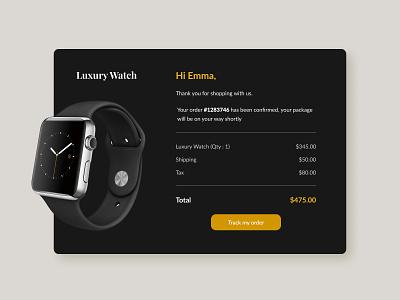Daily UI #017 - Email Receipt card receipt email ui design design app email receipt watch dribbblers design inspiration design challenge dailyui