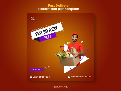 Delivery social media post template design company banners discount delicious ad banner ad banner healthy greengrocery fruit foodstuffs food eat drink delivery covid-19 covid corona commerce beverages
