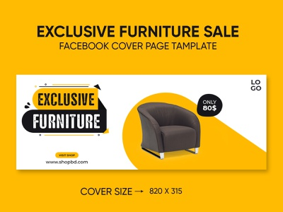 Exclusive furniture sale facebook cover page template decoration discount house e-commerce media sale facebook cover furniture sale furniture banner business promotion modern company banners banner ad banner