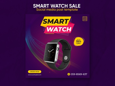 Smart watch sale social media post template design products banner design business banner facebook promotion watch social media banner order offer sale new sale instagram banner e-commerce discount classical collection business campaign banner design banner ads