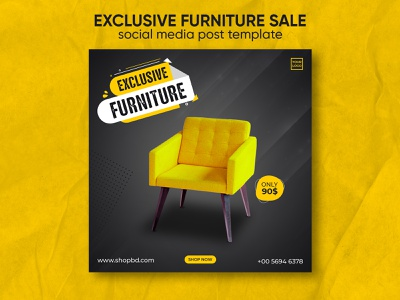Exclusive furniture sale social media post template design instagram furniture template furniture sale banner ads chair yello wood website banner sofa furniture web banner e-commerce sale facebook banner instagram banner furniture sale design discount company banners banner ad banner