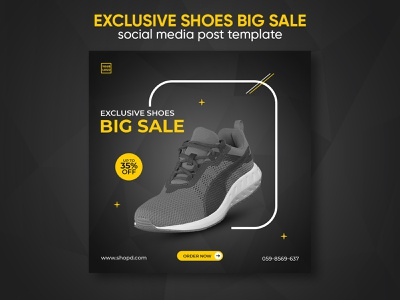 Exclusive shoes big sale social media post template design social media banner sports shoes shoes banner product banner shoes instagram banner facebook ad instagram ad promotion modern discount company banners ad banner banner ads