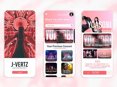 J-Vertz: Japan Online Music Concert online ticket ux uiux uidesigner art mobileapp app design concert branding graphic design ui
