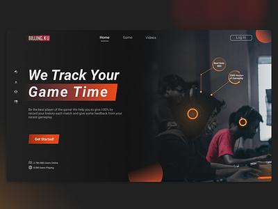 Billing.Ku social apps lifestyle gaming gamer game white orange dark landing page page lading illustration design app ux ui uiux mobileapp graphic design branding