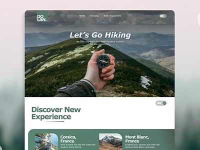 Dolan: Hiking Guide user interface clean green hiking travel apps hero page landing page website logo illustration design app uiux mobileapp graphic design branding ux ui travel
