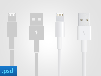 Apple Lightning & USB cable apple cable usb photoshop render lightning lightning cable usb cable illustration photoshop render psd