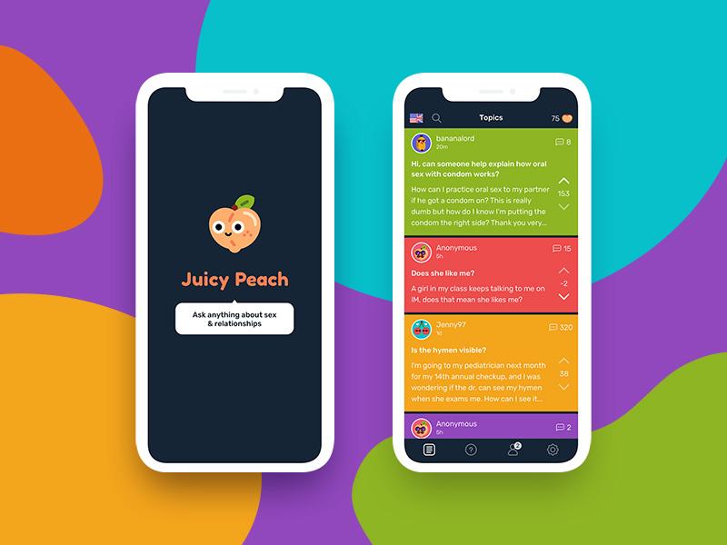 Juicy Peach Title & Dashboard fun social mockup cute colorful color mobile ios ux ui design app