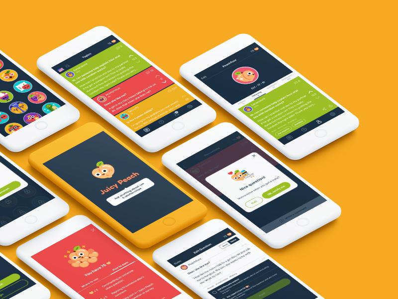 Juicy Peach App Design social mockup happy cute colorful color mobile ios ux ui design app