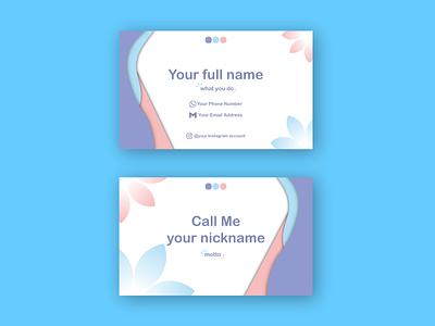 Purple, Blue, and Pink simple name card design fun white pink simple minimalist illustrator vector design graphic design illustration namecard branding