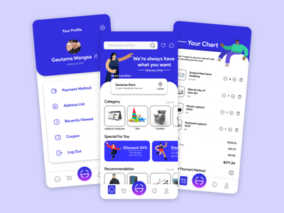 "E-commerce ""Danamas Store"" App - UI Mobile Design minimal app vector branding illustration design ui"