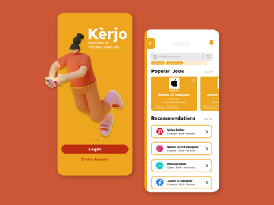 Kèrjo • Job Finder App branding illustration typography ui minimal design app