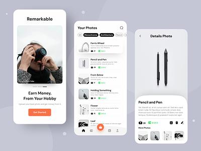 Remarkable • Sell Photos App graphic design photo uimobile mobile ui minimal illustration design branding app
