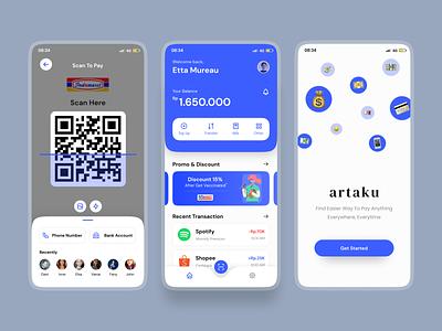 artaku • E-wallet App branding money finance e-wallet ux graphic design ui minimal design app