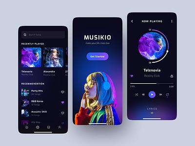 MUSIKIO • Music Streaming App clean gradient mobile design music streaming app music app music dark mode dark mobile design app mobile app mobile graphic design ux ui minimal design app