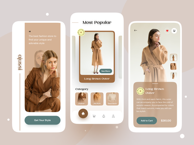 ajussi • Fashion Store App 🛒 app design mobile design mobile store app fashion store app fashion store fashion app branding ux ui minimal design
