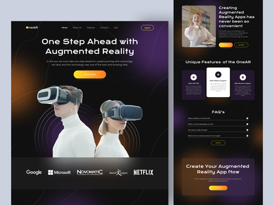 OneAR • Augmented Reality Services Website dark ui dark virtual reality augmented reality vr ar landing page design landing page web design website web branding ux ui design