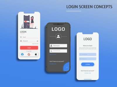 Login Screen Concepts uiux adobe xd ui trends app trends idea concept design login concept app screen mobile trends mobile design design trends