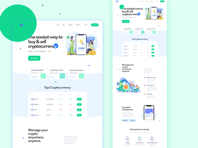 Cryptocurrency, Saas landing page. vector based design illustration startup template web page responsive intaractive dogecoin bitcoin crypto saas software as service graphic design ux ui landing page web design