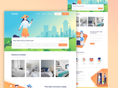 Hotelio, Hotel Booking Landing Page trendy web concept 2022 web concept city home safe home in city travel guide tour partner searching for hotel brand identity responsive ux research web design design ux ui reservation hotel booking