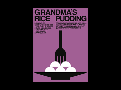Grandma's Rice Pudding poster illustration graphic design recipe food pudding grandma pink poster design poster