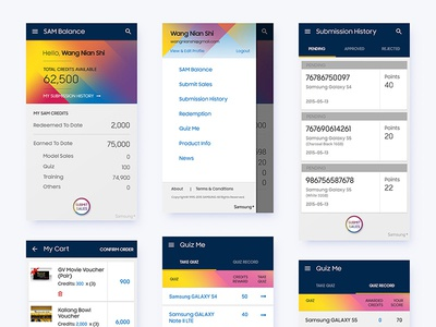 Sales Redemption App report dashboard product cart card quiz material design submit sales app android