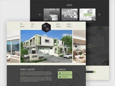 Townhouse Homepage bootstrap simple housing suburb monotone ux ui dekstop homepage landing property