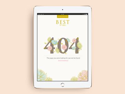 404 Page pastel illustration flower lifestyle gold feminine bali travel wedding error 404 magazine