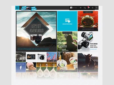 Shoot WOW Share NOW - Dashboard masonry social scroll pinterest user generated dashboard landing platform community photo square grid