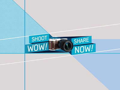 Shoot WOW Share NOW - Campaign Logo sharing social polygonal identity logo platform community camera photography campaign