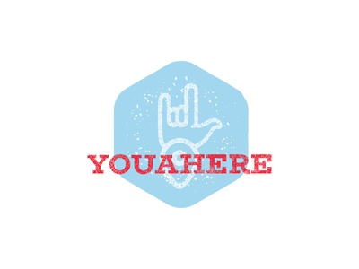Youahere Logo icon slab blue red location pin map metal rock and roll rustic logo vintage logo logo