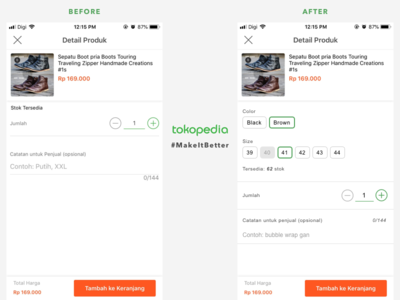 Tokopedia Detail Produk #MakeItBetter ux designer product variation ecommerce product cart mobile add to cart tokopedia ux