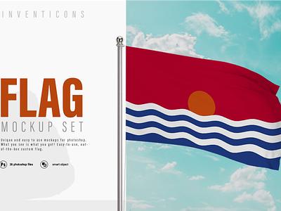 26 Realistic 3D Flag Mockups illustration vector branding realistic flag mock up mockup graphic design photoshop
