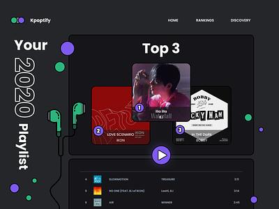 Leaderboard | Daily UI #019 playlist k-pop top3 music leaderboard 019 dailyui